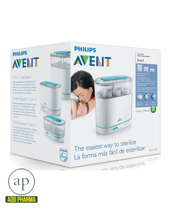 Philips Avent 3-in-1 Electric Steam Sterilizer Baby Bottle Clean /& Sterilize