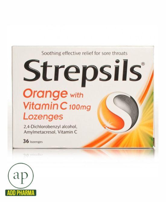 Strepsils Orange With Vitamin C100mg 36 Lozenges