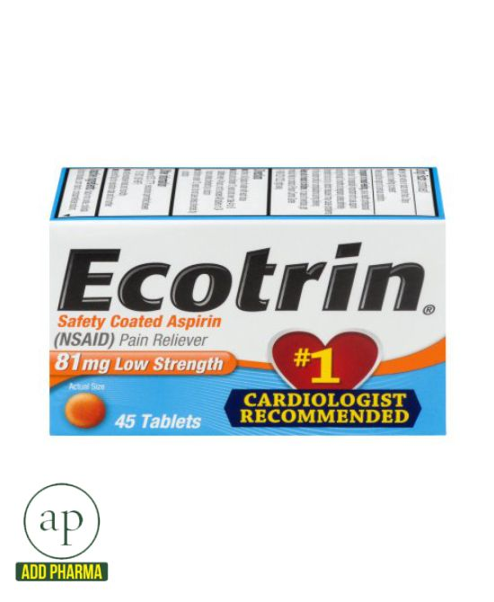 Ecotrin Coated Aspirin - 45 Tablets