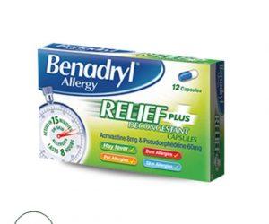 Benadryl Plus Allergy Relief - 12 Capsules