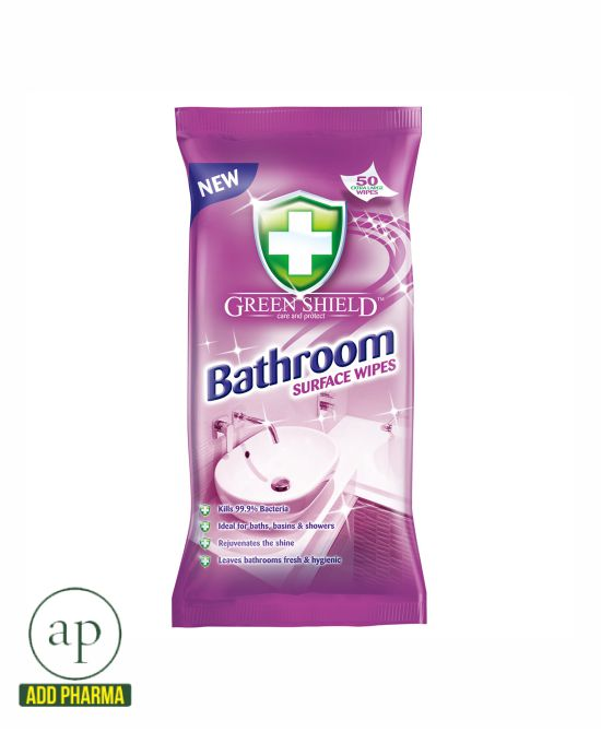 Green Shield Bathroom Surface Wipes - Pack of 50 Wipes