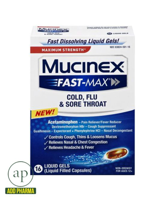 Mucinex Fast-Max Cold, Flu & Sore Throat - 16 Liquid Gels