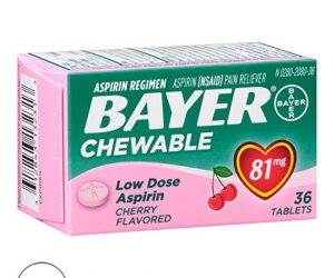 Bayer Aspirin Low Dose 81 mg - 36 Cherry Flavored Tablets