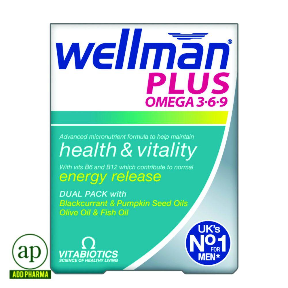 Vitabiotics Wellman Plus Omega 3 6 9 56 Tablets Addpharma