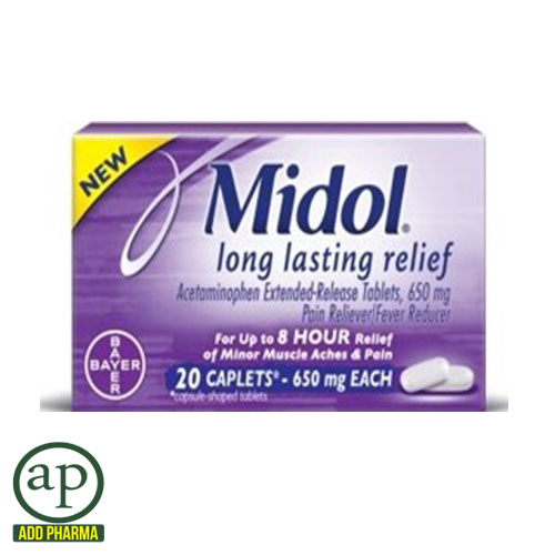 Midol Long Lasting Relief - 20 Caplets , 650mg ea.